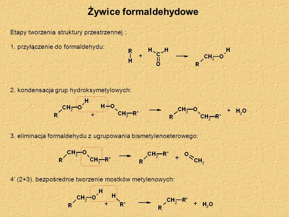Żywice formaldehydowe Etapy tworzenia struktury przestrzennej : 1. przyłączenie do formaldehydu: 2. kondensacja grup hydroksymetylowych: 3. eliminacja