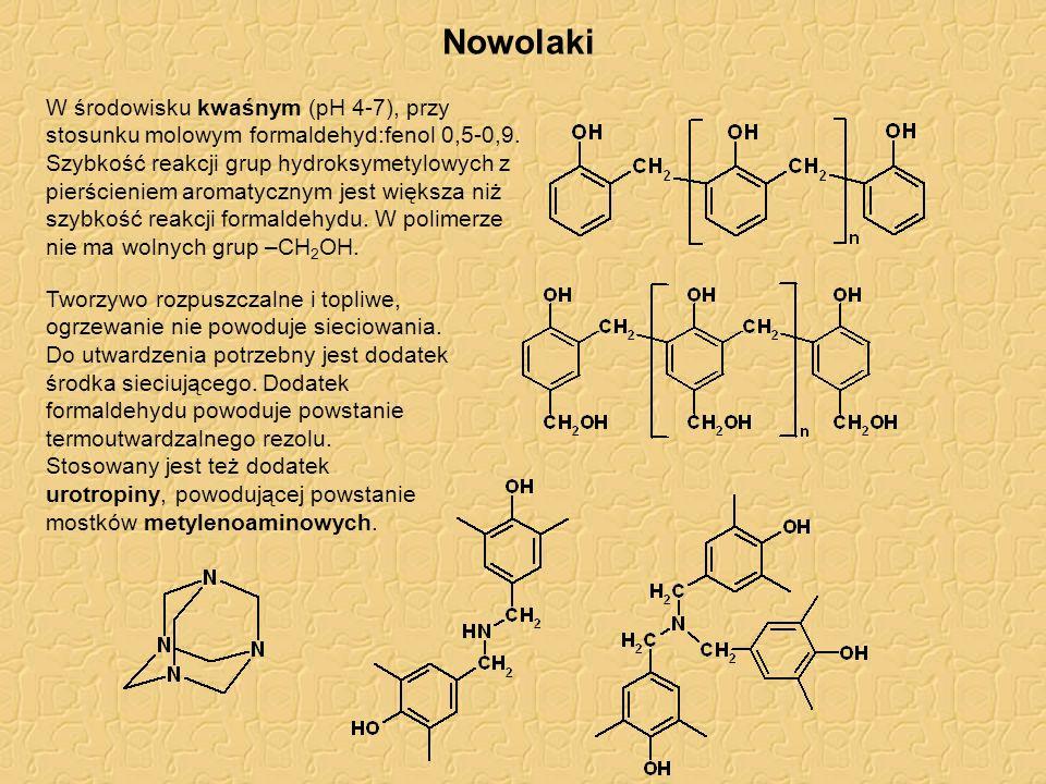 Nowolaki W środowisku kwaśnym (pH 4-7), przy stosunku molowym formaldehyd:fenol 0,5-0,9. Szybkość reakcji grup hydroksymetylowych z pierścieniem aroma