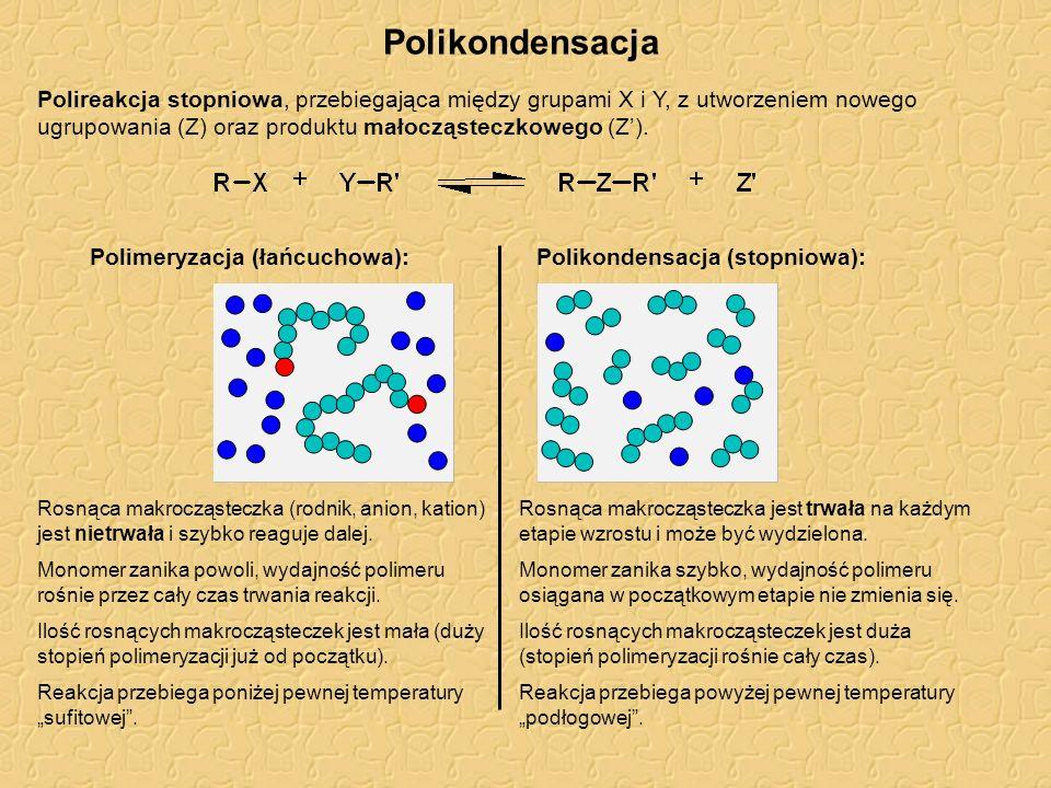 Rodzaje polikondensacji Homopolikondensacja: Heteropolikondensacja: Typowe reakcje w polikondensacji: grupy funkcyjne XY nowe wiązanie, Z produkt mało- cząsteczkowy nazwa polimeru poliester poliamid poliuretan poliamina polisiloksan poliester