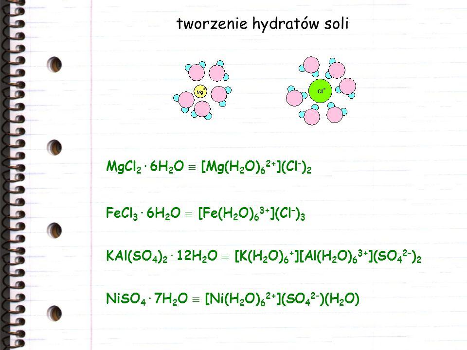 tworzenie hydratów soli MgCl 2 ·6H 2 O [Mg(H 2 O) 6 2+ ](Cl – ) 2 FeCl 3 ·6H 2 O [Fe(H 2 O) 6 3+ ](Cl – ) 3 KAl(SO 4 ) 2 ·12H 2 O [K(H 2 O) 6 + ][Al(H 2 O) 6 3+ ](SO 4 2– ) 2 NiSO 4 ·7H 2 O [Ni(H 2 O) 6 2+ ](SO 4 2– )(H 2 O)