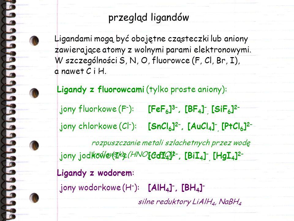 przegląd ligandów Ligandami mogą być obojętne cząsteczki lub aniony zawierające atomy z wolnymi parami elektronowymi.