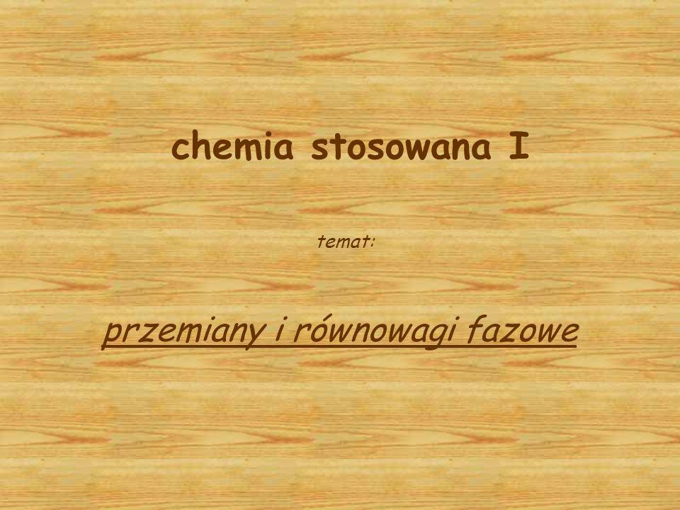 chemia stosowana I temat: przemiany i równowagi fazowe