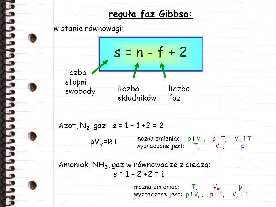 reguła faz Gibbsa: s = n - f + 2 w stanie równowagi: liczba stopni swobody liczba składników liczba faz Azot, N 2, gaz: s = 1 – 1 +2 = 2 pV m =RT możn