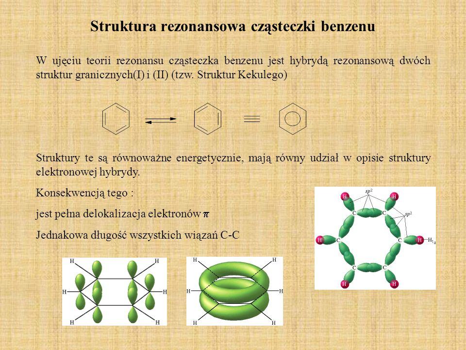 Nazewnictwo pochodnych benzenu 1.dodajemy nazwę podstawnika do słowa benzen 2.Nazwę dwupodstawionych pochodnych benzenu kształtuje się w oparciu o konwencję pierwszeństwa podstawników, decydującą o nazwie podstawowej oraz konwencję orto(1,2),meta(1,3),para(1,4).
