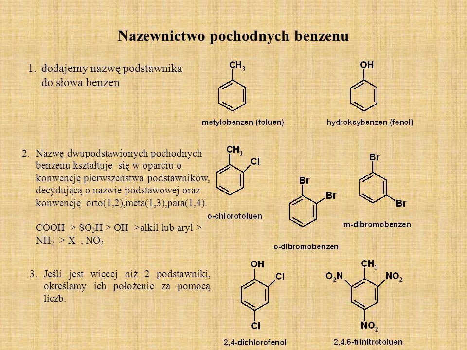 Reakcja podstawiania elektrofilowego Elektrofilem w przypadku nitrowania jest kation nitroniowy NO 2 +.