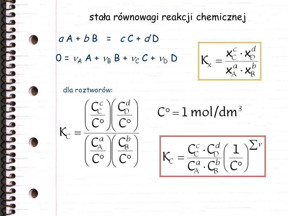 stała równowagi reakcji chemicznej a A + b B = c C + d D 0 = A A + B B + C C + D D dla roztworów: