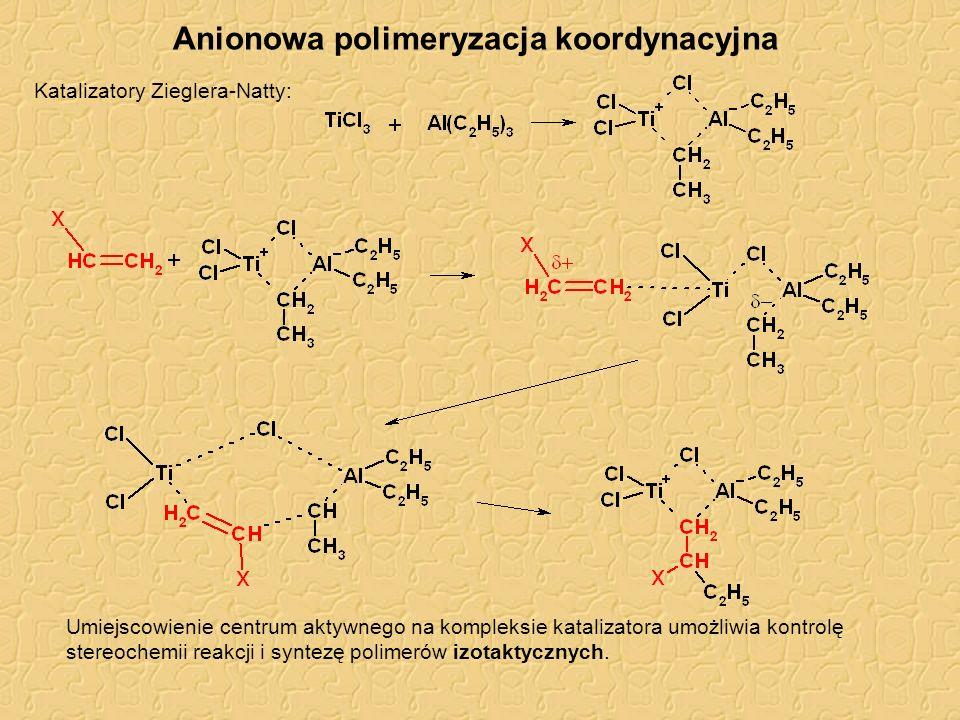 Polimeryzacja łańcuchowa Porównanie mechanizmów kopolimeryzacja styrenu i metakrylanu metylu: udział styrenu w kopolimerze mechanizm 0,78kationowy 0,01anionowy 0,52rodnikowy