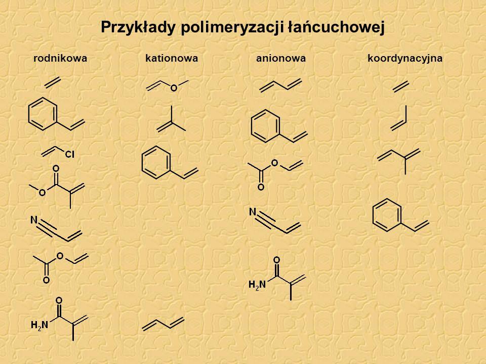 Przykłady polimeryzacji polietylen, PE poliakrylonitryl polistyren, PS poli(metakrylan metylu), PMMA polibutadien, PB poli(tlenek etylenu), PEO polioksetan