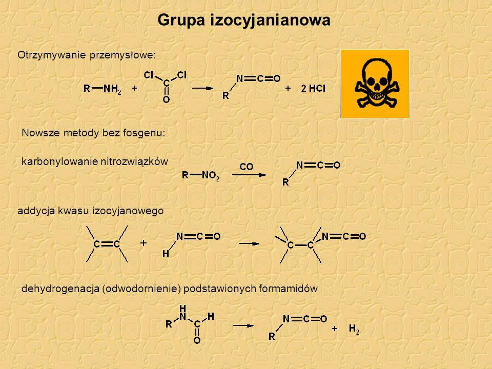 Grupa izocyjanianowa Otrzymywanie przemysłowe: Nowsze metody bez fosgenu: karbonylowanie nitrozwiązków addycja kwasu izocyjanowego dehydrogenacja (odwodornienie) podstawionych formamidów