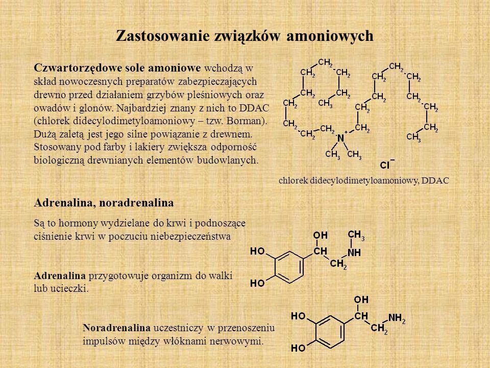 Zastosowanie związków amoniowych Czwartorzędowe sole amoniowe wchodzą w skład nowoczesnych preparatów zabezpieczających drewno przed działaniem grzybów pleśniowych oraz owadów i glonów.