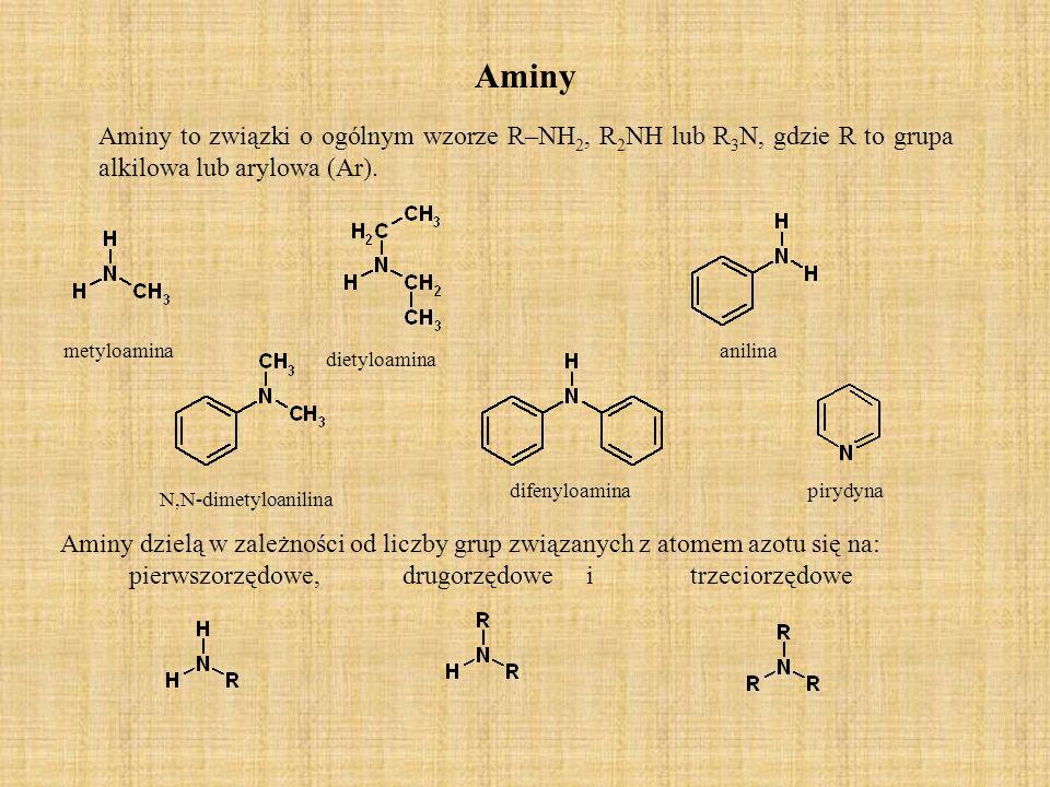Aminy Aminy to związki o ogólnym wzorze R–NH 2, R 2 NH lub R 3 N, gdzie R to grupa alkilowa lub arylowa (Ar).