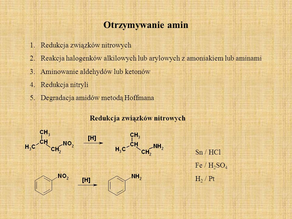 Otrzymywanie amin Reakcja halogenków alkilowych lub arylowych z amoniakiem lub aminami Aminowanie aldehydów lub ketonów Redukcja nitryli Degradacja amidów Hoffmana