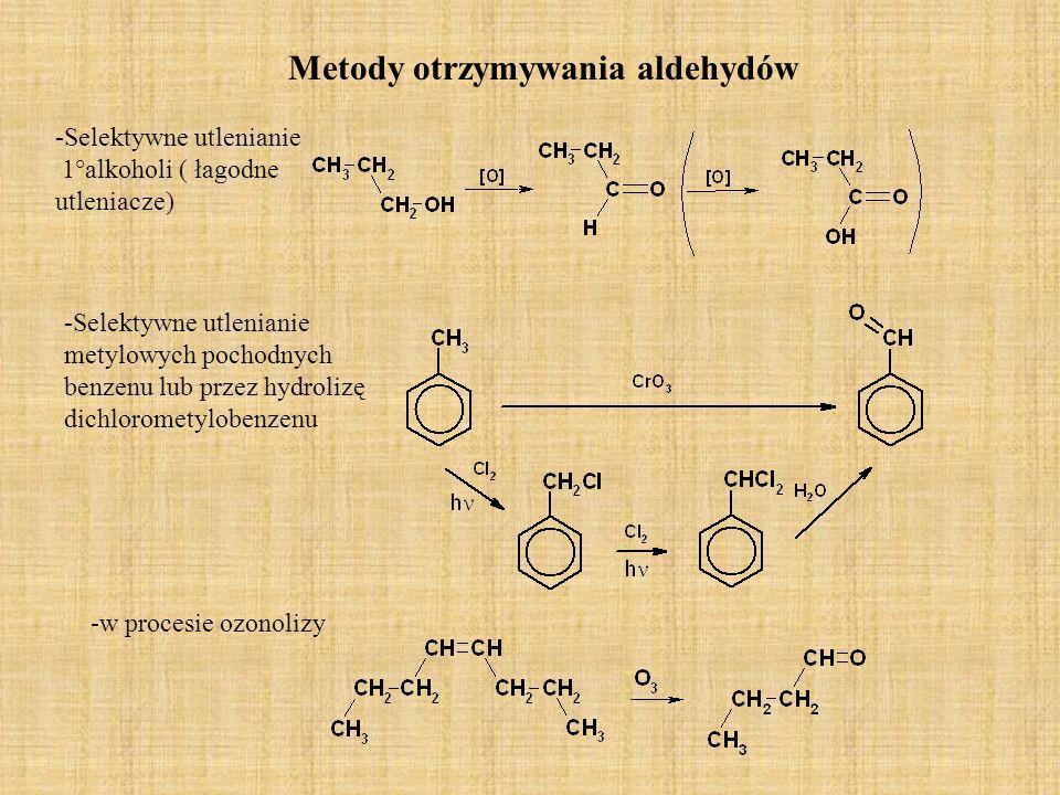 Kondensacja aldolowa Pod wpływem rozcieńczonej zasady dwie cząsteczki aldehydu albo ketonu posiadające atomy wodoru przy węglu mogą łączyć się, w wyniku czego tworzy się -hydroksyaldehyd albo -hydroksyketon.