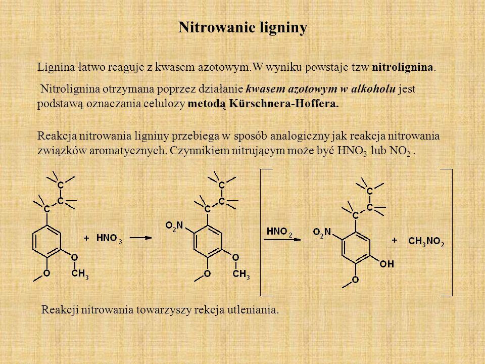 Nitrowanie ligniny Lignina łatwo reaguje z kwasem azotowym.W wyniku powstaje tzw nitrolignina. Nitrolignina otrzymana poprzez działanie kwasem azotowy