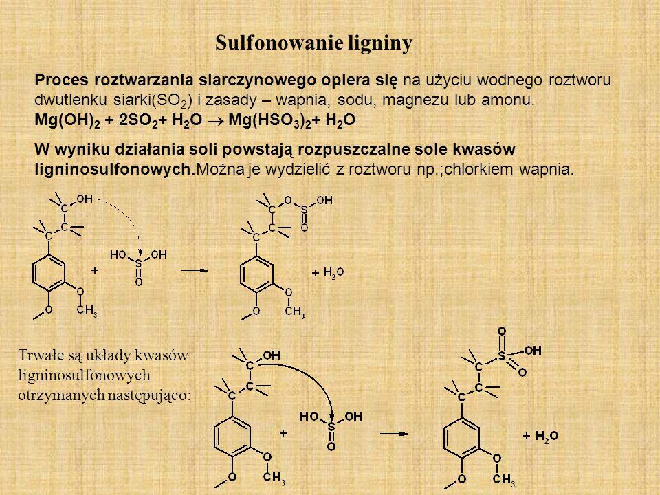 Sulfonowanie ligniny Proces roztwarzania siarczynowego opiera się na użyciu wodnego roztworu dwutlenku siarki(SO 2 ) i zasady – wapnia, sodu, magnezu lub amonu.