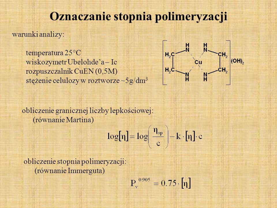 Oznaczanie stopnia polimeryzacji warunki analizy: temperatura 25°C wiskozymetr Ubelohdea – Ic rozpuszczalnik CuEN (0,5M) stężenie celulozy w roztworze