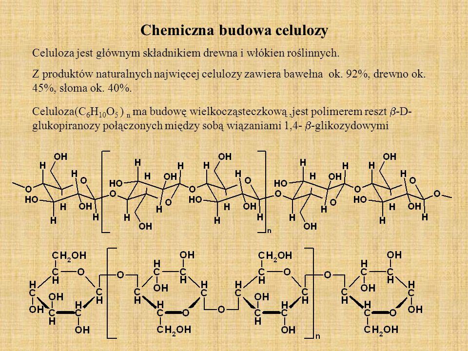 Chemiczna budowa celulozy Celuloza(C 6 H 10 O 5 ) n ma budowę wielkocząsteczkową,jest polimerem reszt -D- glukopiranozy połączonych między sobą wiązan