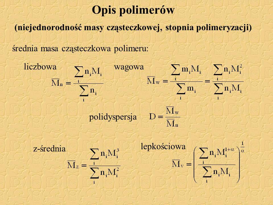 średnia masa cząsteczkowa polimeru: Opis polimerów (niejednorodność masy cząsteczkowej, stopnia polimeryzacji) wagowaliczbowa lepkościowa polidyspersj