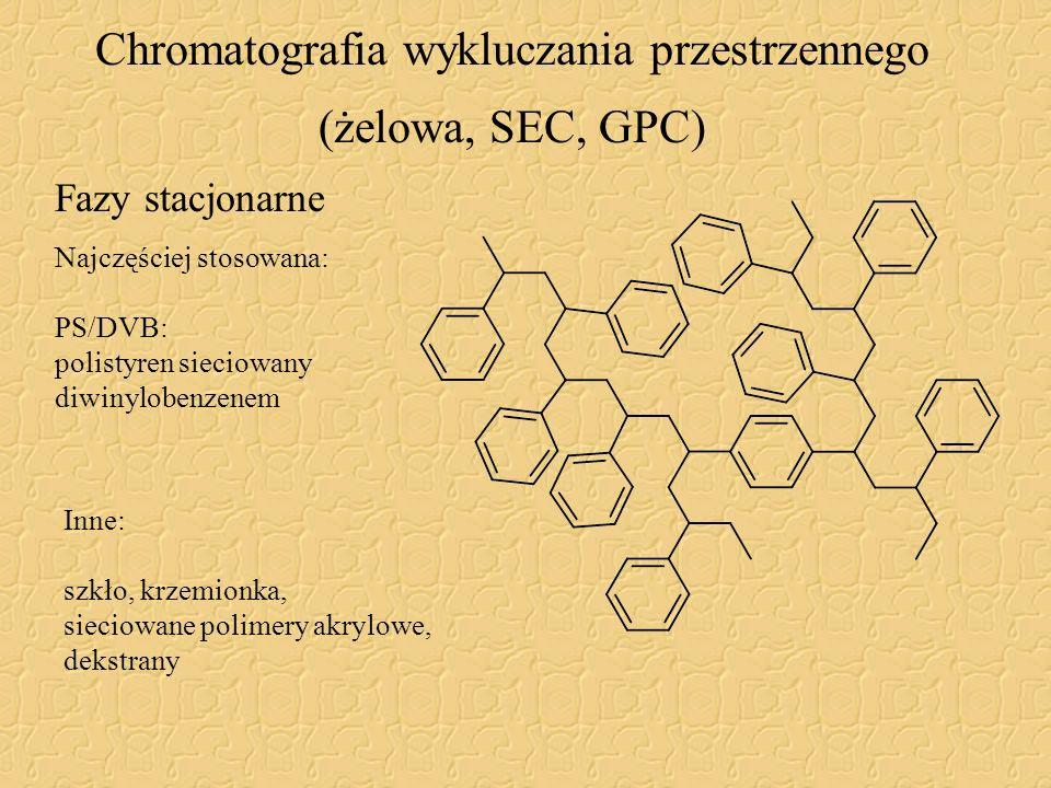 Chromatografia wykluczania przestrzennego (żelowa, SEC, GPC) Najczęściej stosowana: PS/DVB: polistyren sieciowany diwinylobenzenem Inne: szkło, krzemi