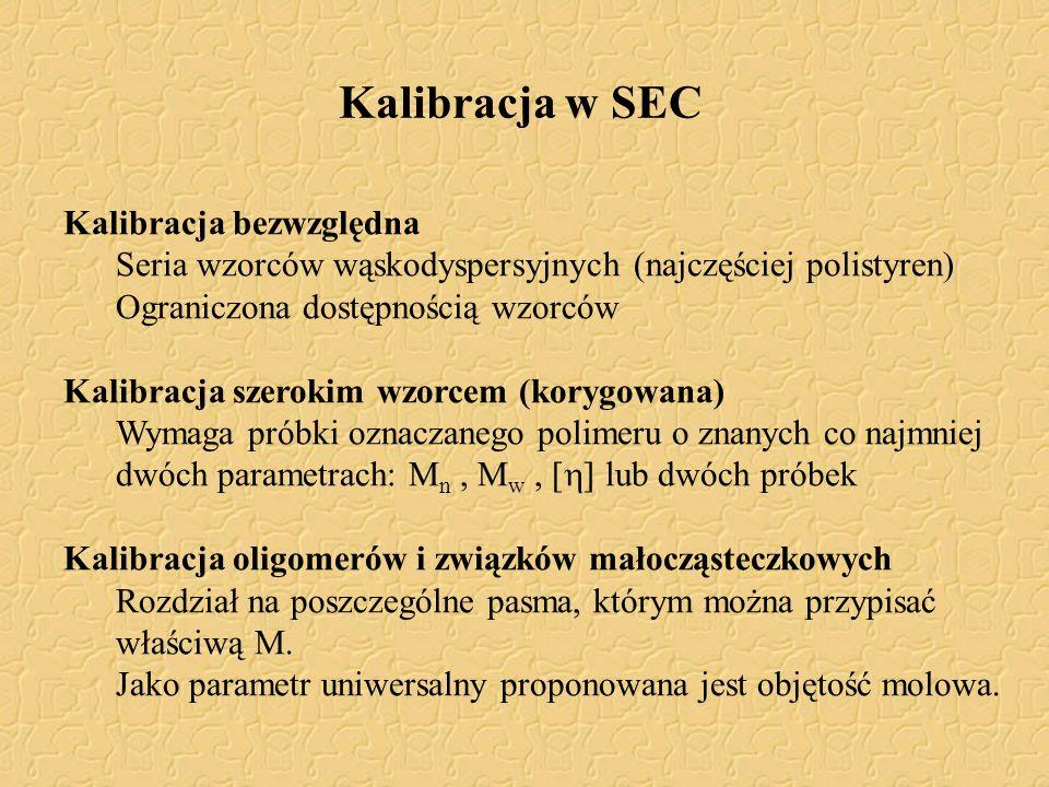Kalibracja w SEC Kalibracja bezwzględna Seria wzorców wąskodyspersyjnych (najczęściej polistyren) Ograniczona dostępnością wzorców Kalibracja szerokim