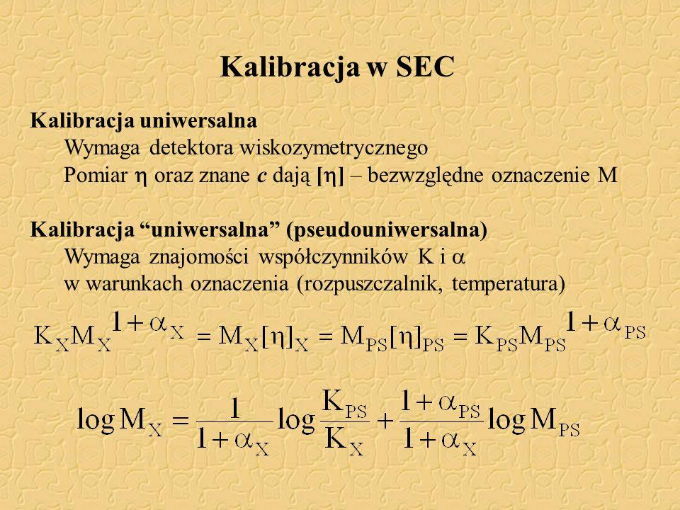 Kalibracja uniwersalna Wymaga detektora wiskozymetrycznego Pomiar oraz znane c dają [ ] – bezwzględne oznaczenie M Kalibracja uniwersalna (pseudouniwe