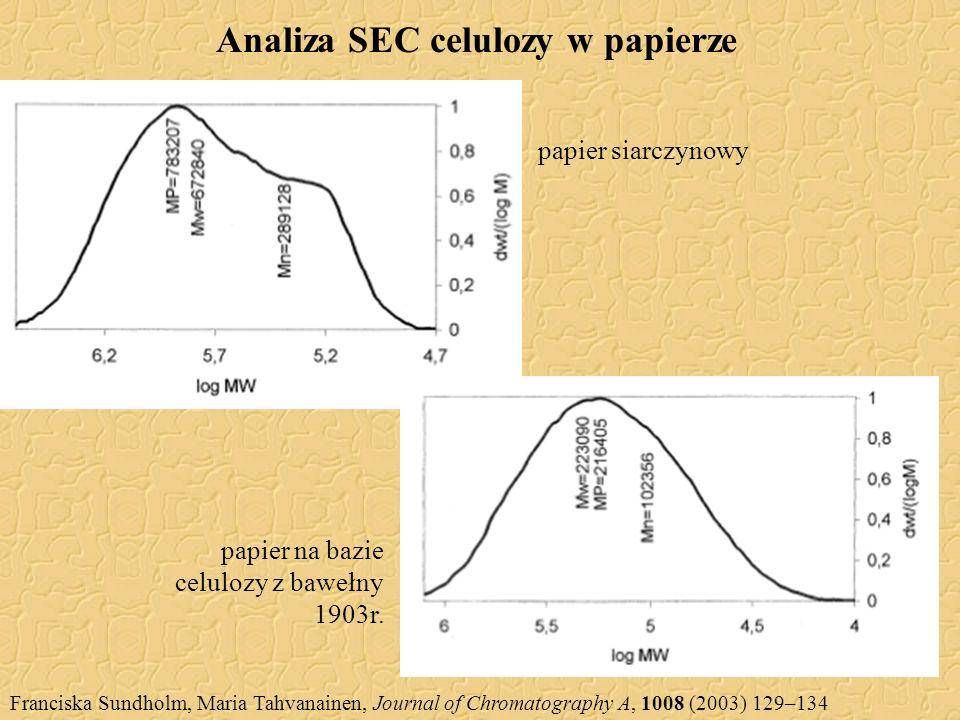 Analiza SEC celulozy w papierze Franciska Sundholm, Maria Tahvanainen, Journal of Chromatography A, 1008 (2003) 129–134 papier siarczynowy papier na b