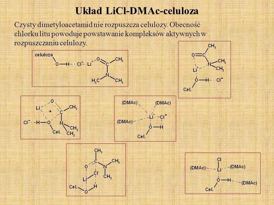 Układ LiCl-DMAc-celuloza. Czysty dimetyloacetamid nie rozpuszcza celulozy. Obecność chlorku litu powoduje powstawanie kompleksów aktywnych w rozpuszcz