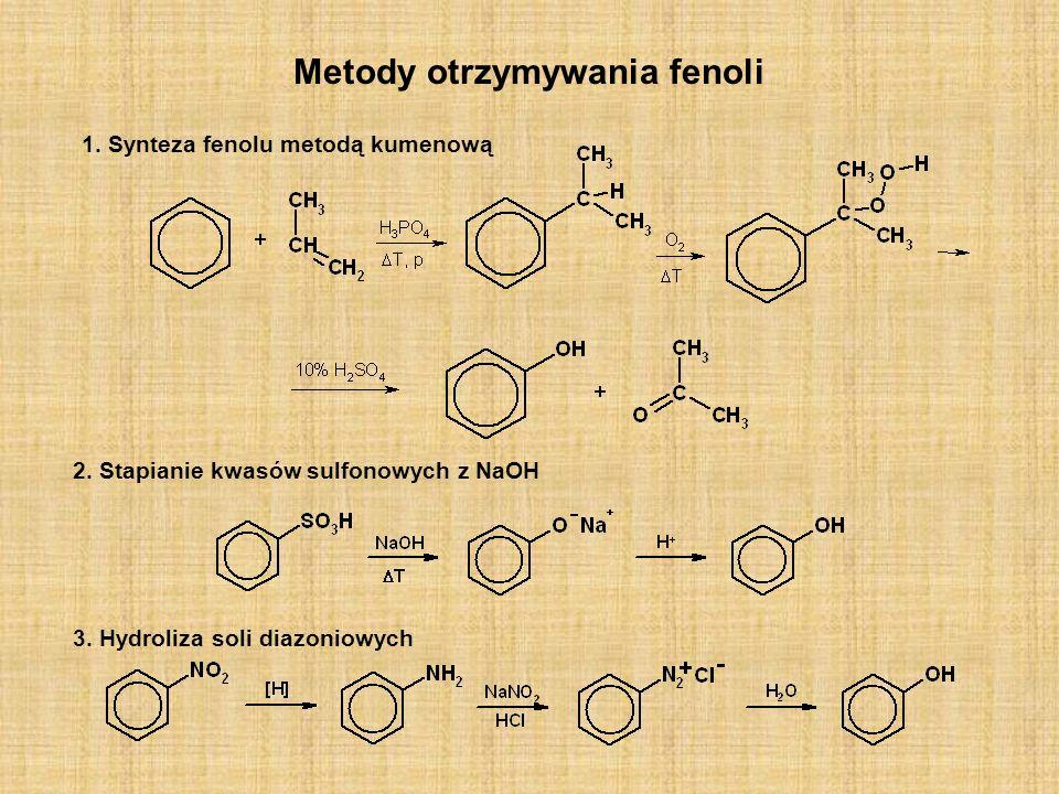 Metody otrzymywania fenoli 1. Synteza fenolu metodą kumenową 3. Hydroliza soli diazoniowych 2. Stapianie kwasów sulfonowych z NaOH