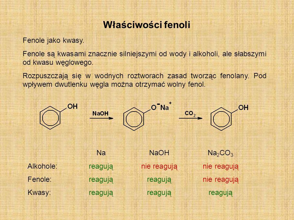Właściwości fenoli Fenole jako kwasy. Fenole są kwasami znacznie silniejszymi od wody i alkoholi, ale słabszymi od kwasu węglowego. Rozpuszczają się w