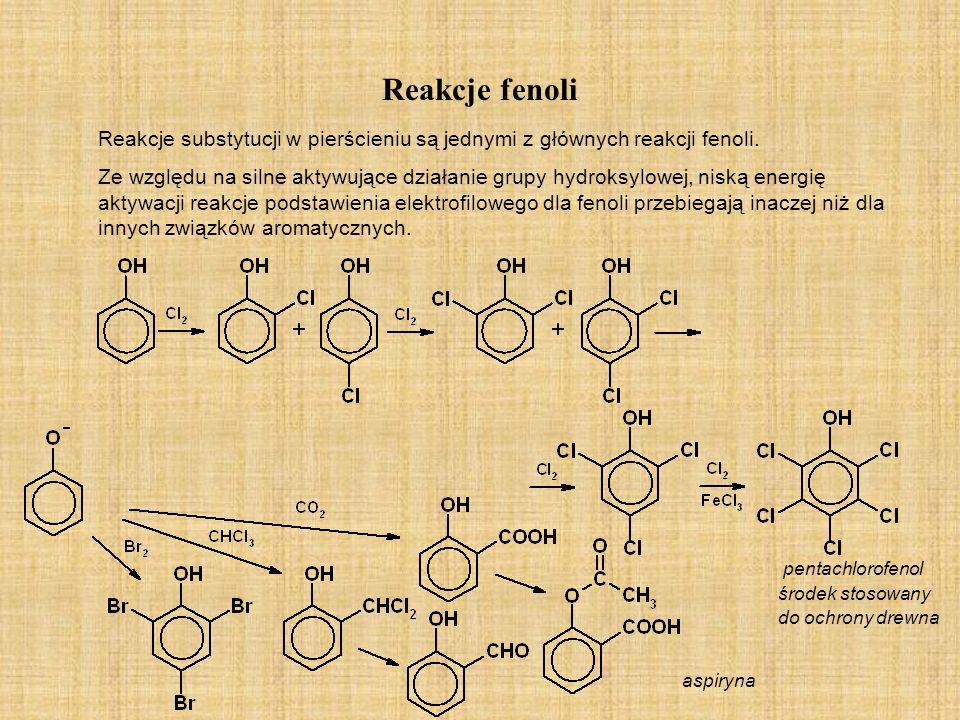 Reakcje fenoli Reakcje substytucji w pierścieniu są jednymi z głównych reakcji fenoli. Ze względu na silne aktywujące działanie grupy hydroksylowej, n