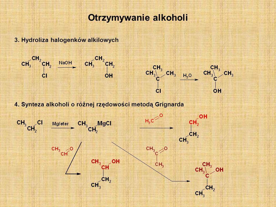 Otrzymywanie eterów Międzycząsteczkowa dehydratacja alkoholi Niższe etery symetryczne(głównie dimetylowy i dietylowy) otrzymuje się w wyniku reakcji alkoholu z kwasem (najczęściej siarkowym), w podwyższonej temperaturze.