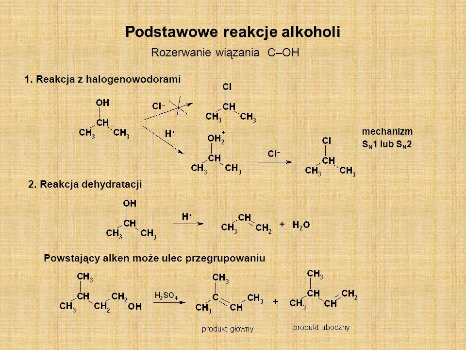 Podstawowe reakcje alkoholi Rozerwanie wiązania C–OH 1. Reakcja z halogenowodorami 2. Reakcja dehydratacji Powstający alken może ulec przegrupowaniu m