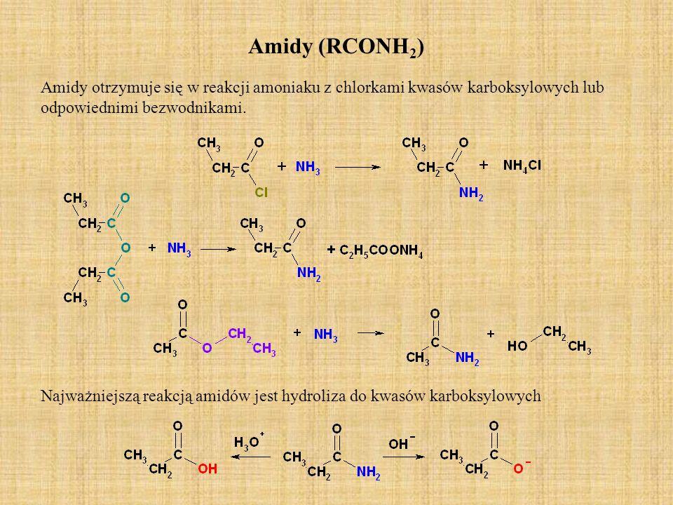 Amidy (RCONH 2 ) Amidy otrzymuje się w reakcji amoniaku z chlorkami kwasów karboksylowych lub odpowiednimi bezwodnikami. Najważniejszą reakcją amidów