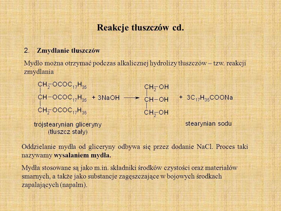 Reakcje tłuszczów cd. 2. Zmydlanie tłuszczów Mydło można otrzymać podczas alkalicznej hydrolizy tłuszczów – tzw. reakcji zmydlania Oddzielanie mydła o