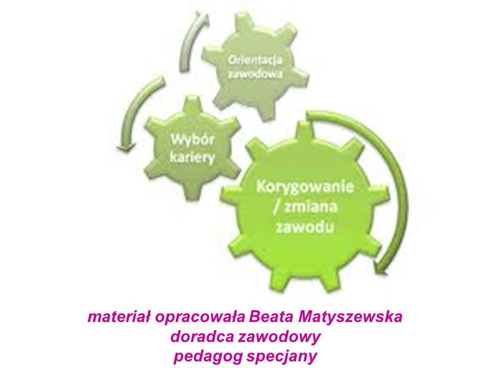 materiał opracowała Beata Matyszewska doradca zawodowy pedagog specjany