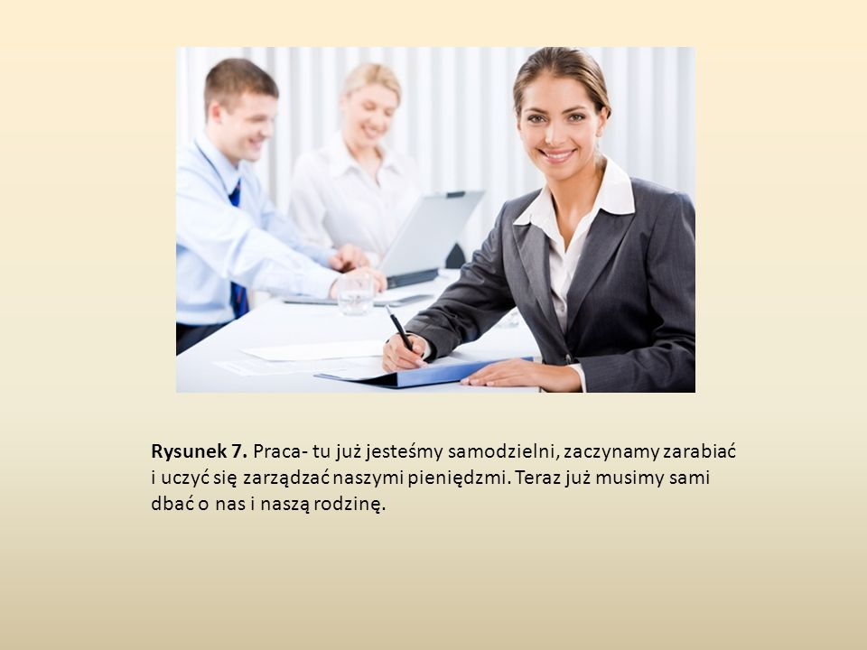 Rysunek 7. Praca- tu już jesteśmy samodzielni, zaczynamy zarabiać i uczyć się zarządzać naszymi pieniędzmi. Teraz już musimy sami dbać o nas i naszą r