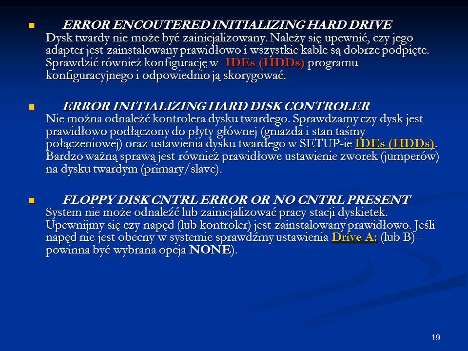 19 ERROR ENCOUTERED INITIALIZING HARD DRIVE Dysk twardy nie może być zainicjalizowany. Należy się upewnić, czy jego adapter jest zainstalowany prawidł