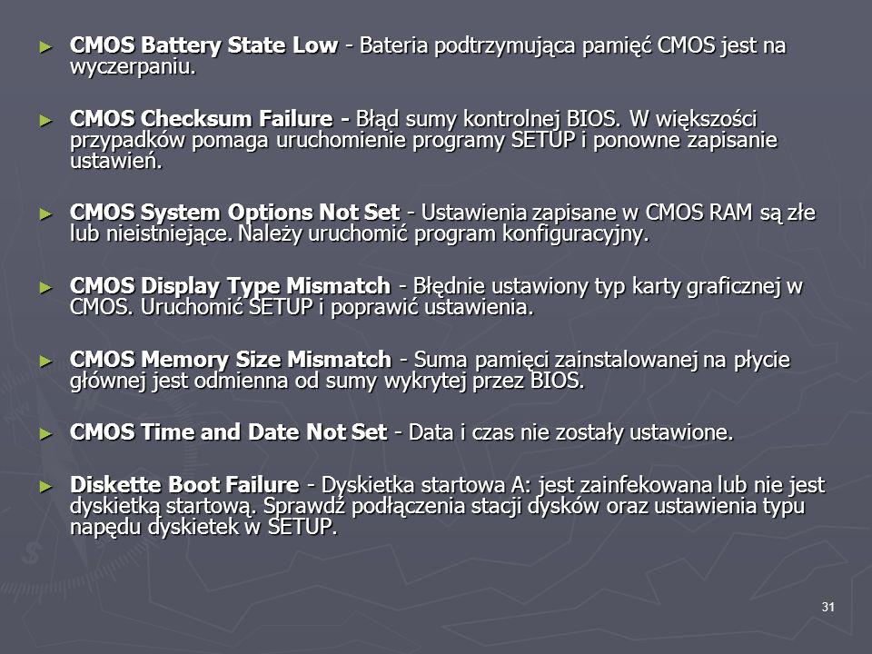31 CMOS Battery State Low - Bateria podtrzymująca pamięć CMOS jest na wyczerpaniu. CMOS Battery State Low - Bateria podtrzymująca pamięć CMOS jest na