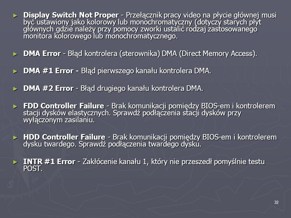 32 Display Switch Not Proper - Przełącznik pracy video na płycie głównej musi być ustawiony jako kolorowy lub monochromatyczny (dotyczy starych płyt g