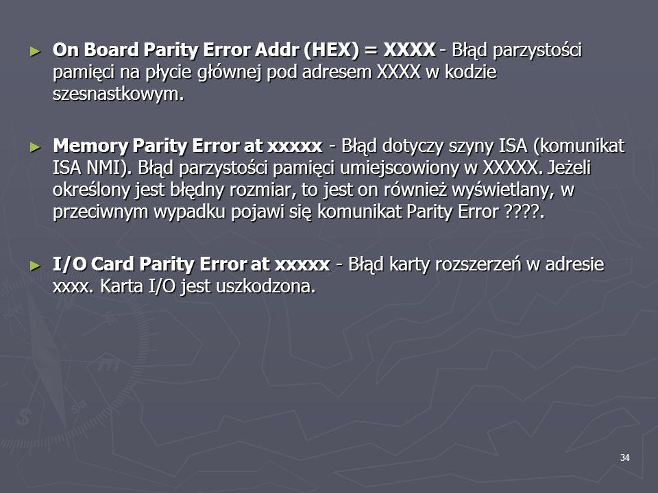 34 On Board Parity Error Addr (HEX) = XXXX - Błąd parzystości pamięci na płycie głównej pod adresem XXXX w kodzie szesnastkowym. On Board Parity Error