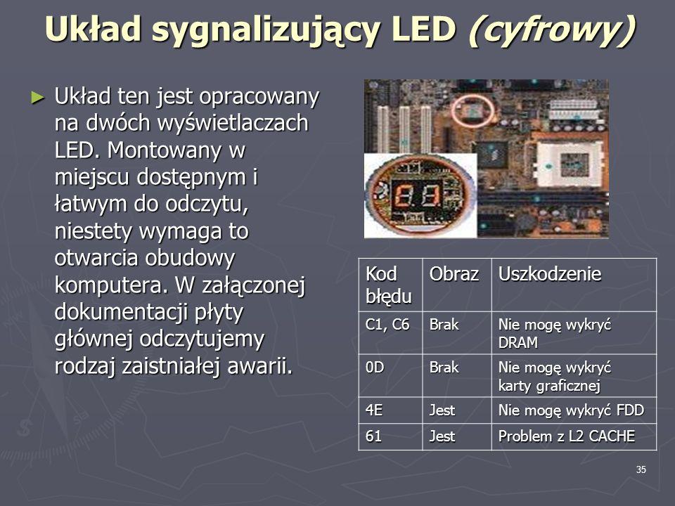 35 Układ sygnalizujący LED (cyfrowy) Układ ten jest opracowany na dwóch wyświetlaczach LED. Montowany w miejscu dostępnym i łatwym do odczytu, niestet