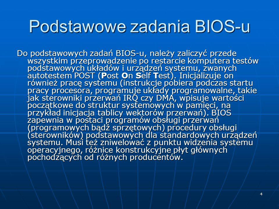 4 Podstawowe zadania BIOS-u Do podstawowych zadań BIOS-u, należy zaliczyć przede wszystkim przeprowadzenie po restarcie komputera testów podstawowych