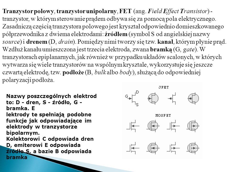 Tranzystor polowy, tranzystor unipolarny, FET (ang. Field Effect Transistor) - tranzystor, w którym sterowanie prądem odbywa się za pomocą pola elektr