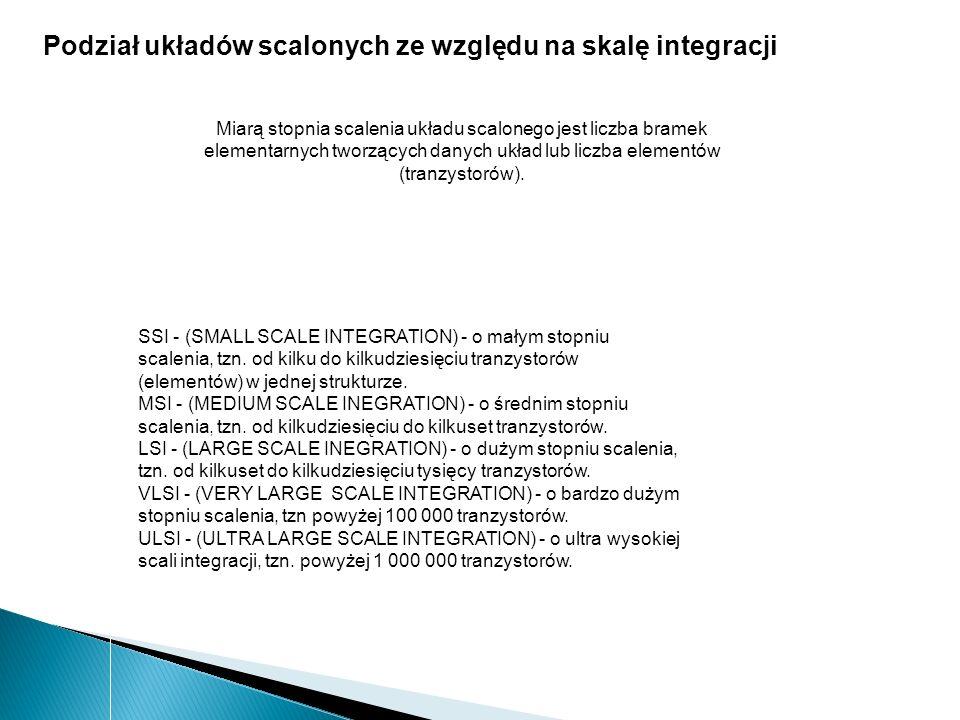 SSI - (SMALL SCALE INTEGRATION) - o małym stopniu scalenia, tzn. od kilku do kilkudziesięciu tranzystorów (elementów) w jednej strukturze. MSI - (MEDI