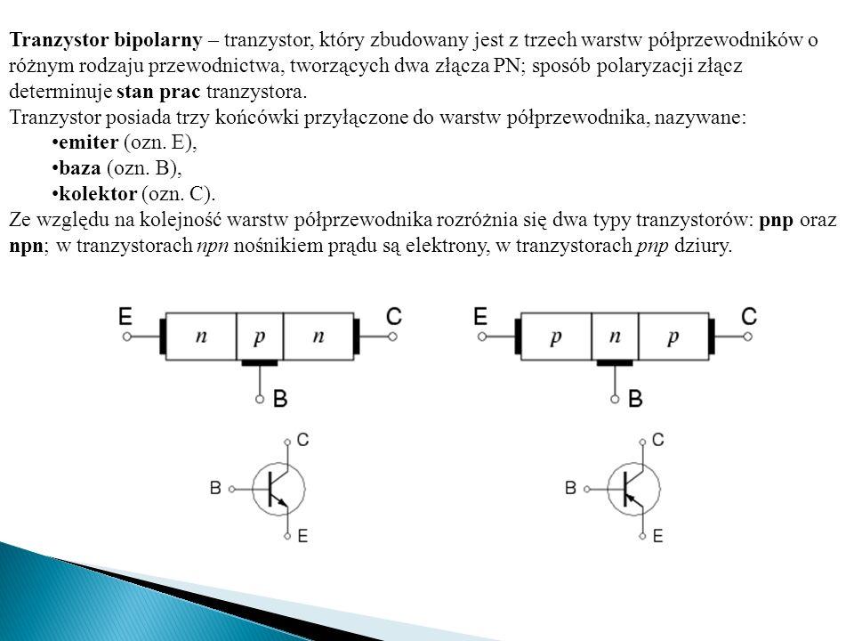 Tranzystor bipolarny – tranzystor, który zbudowany jest z trzech warstw półprzewodników o różnym rodzaju przewodnictwa, tworzących dwa złącza PN; spos