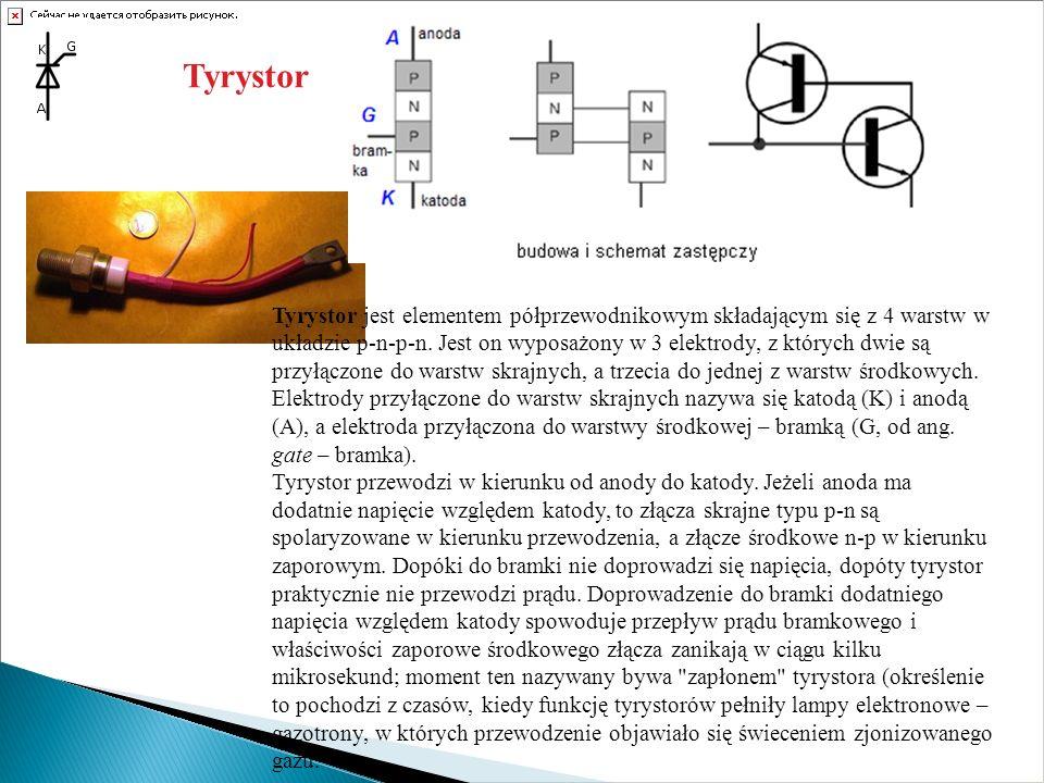 Tyrystor Tyrystor jest elementem półprzewodnikowym składającym się z 4 warstw w układzie p-n-p-n. Jest on wyposażony w 3 elektrody, z których dwie są