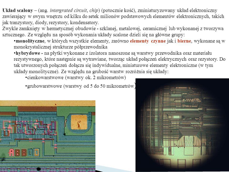 Układ scalony – (ang. intergrated circuit, chip) (potocznie kość), zminiaturyzowany układ elektroniczny zawierający w swym wnętrzu od kilku do setek m
