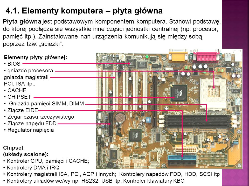 4.1. Elementy komputera – płyta główna Płyta główna jest podstawowym komponentem komputera. Stanowi podstawę, do której podłącza się wszystkie inne cz