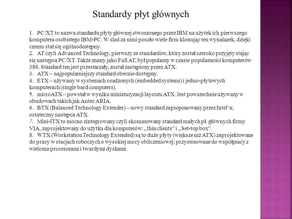 WEWNĘTRZNE GNIAZDA Na płycie głównej znajduje się szereg różnych typów złączy opracowanych według określonego standardu (Open architecture) gwarantującego że wszystkie urządzenia pochodzące od różnych producentów (zgodne ze standardem PC) będą mogły prawidłowo ze sobą współpracować.