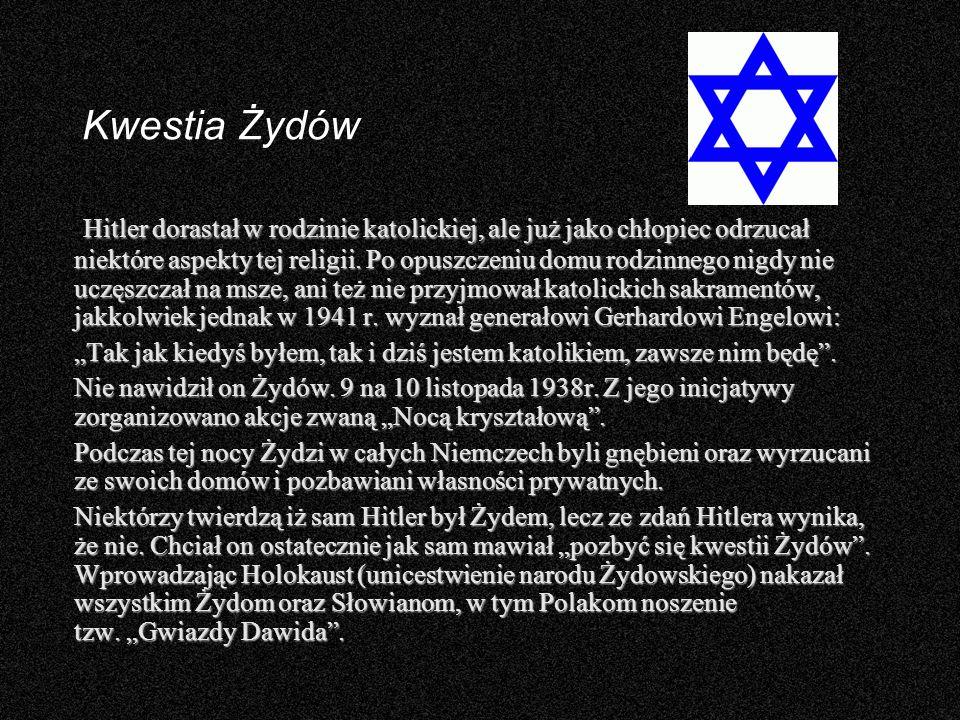 Kwestia Żydów Hitler dorastał w rodzinie katolickiej, ale już jako chłopiec odrzucał niektóre aspekty tej religii. Po opuszczeniu domu rodzinnego nigd